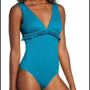 Chelsea28 Small Teal Ruffle One Piece Swimsuit